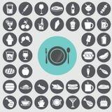ícones do fast food ajustados Fotografia de Stock