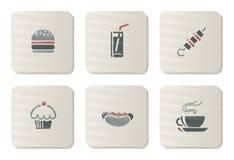 Ícones do fast food | Série do cartão Fotografia de Stock