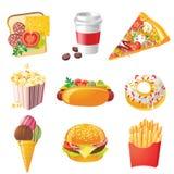 Ícones do Fastfood Fotografia de Stock Royalty Free
