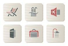 Ícones do hotel e do Treval | Série do cartão Foto de Stock Royalty Free