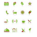 Ícones do hotel - série verde-vermelha Fotos de Stock Royalty Free