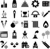 Ícones do incêndio Imagens de Stock