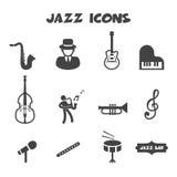Ícones do jazz Fotografia de Stock