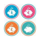 Ícones do mealheiro Dólar, Euro, moneybox da libra Foto de Stock Royalty Free