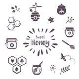 Ícones do mel do verão Foto de Stock