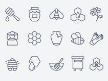 Ícones do mel e da apicultura Imagens de Stock