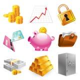 Ícones do mercado de valores de acção Fotos de Stock