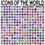 Ícones do mundo de encontro ao branco Imagens de Stock