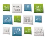 Ícones do negócio e da indústria Imagem de Stock Royalty Free