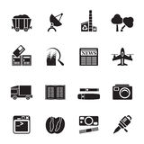 Ícones do negócio e da indústria da silhueta Imagem de Stock