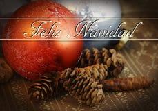 Cones do ornamento e do pinho do Natal Fotos de Stock