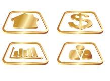 Ícones do ouro do negócio ajustados Foto de Stock Royalty Free