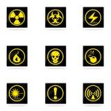 Ícones do perigo ajustados Fotografia de Stock