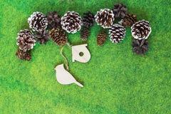 Cones do pinho e de abeto com ornamento de madeira fotografia de stock