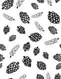 Cones do pinho e teste padrão sem emenda do vetor dos ramos coníferos Imagem de Stock Royalty Free