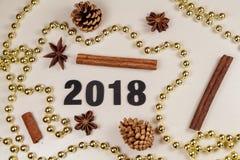 2018, cones do pinho, varas de canela, anis de estrela e ouropel da pérola Fotografia de Stock