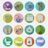 Ícones do plano de serviço do encanamento ajustados Imagens de Stock Royalty Free