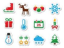 Ícones do preto do inverno do Natal ajustados como etiquetas Imagens de Stock Royalty Free