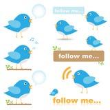 Ícones do pássaro do Twitter Foto de Stock Royalty Free