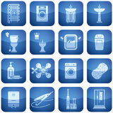 Ícones do quadrado do cobalto 2D ajustados: Banheiro Foto de Stock Royalty Free