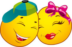 Ícones do smiley. AMOR Imagem de Stock Royalty Free