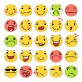 Ícones do sorriso dos desenhos animados ajustados Fotos de Stock Royalty Free