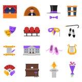 Ícones do teatro ajustados Fotografia de Stock Royalty Free