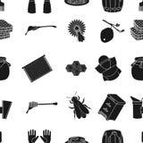 Ícones do teste padrão do apiário no estilo preto Coleção grande da ilustração do estoque do símbolo do vetor do apiário Imagem de Stock