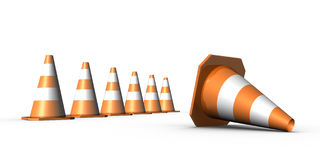 cones do tráfego 3d Fotos de Stock Royalty Free