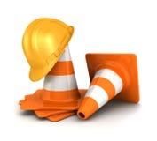 cones do tráfego 3d e um capacete de segurança Imagem de Stock
