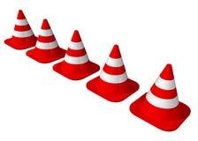 Cones do tráfego alinhados Foto de Stock