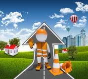 cones do trabalhador 3d e do tráfego Imagem de Stock