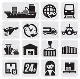 Ícones do transporte e da carga Fotografia de Stock