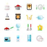 Ícones do utensílio da cozinha Fotografia de Stock Royalty Free