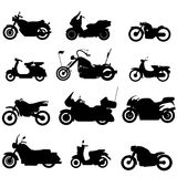 Ícones do velomotor da silhueta Fotografia de Stock Royalty Free