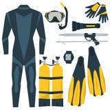 Ícones do vetor ajustados do equipamento de mergulho Fotos de Stock Royalty Free