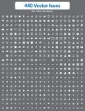 440 ícones do vetor (branco ajustado) Foto de Stock Royalty Free