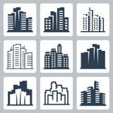 Ícones do vetor da arquitetura da cidade Fotos de Stock