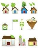 Ícones do vetor da casa verde Imagens de Stock Royalty Free