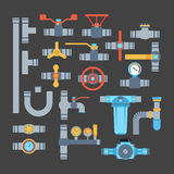 Ícones do vetor das tubulações isolados Imagens de Stock