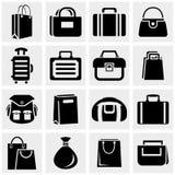 Ícones do vetor do saco de compras ajustados no cinza. Imagem de Stock Royalty Free