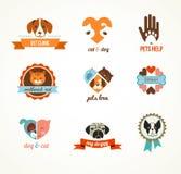 Ícones do vetor dos animais de estimação - elementos dos gatos e dos cães Foto de Stock