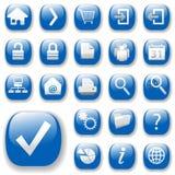 Ícones do Web, azul, DropShadows Imagem de Stock
