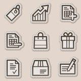 Ícones do Web da compra, série marrom da etiqueta do contorno Imagens de Stock Royalty Free