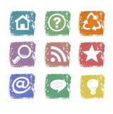 Ícones do Web de Grunge Fotos de Stock Royalty Free