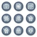 Ícones do Web do comércio electrónico, teclas minerais do círculo Imagens de Stock