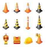 Ícones do Web - sinal de aviso do tráfego Fotos de Stock Royalty Free