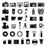 Ícones dos acessórios da câmera Foto de Stock Royalty Free