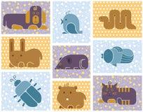 Ícones dos animais do jardim zoológico Fotos de Stock Royalty Free