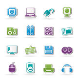 Ícones dos artigos e dos acessórios do computador Imagens de Stock